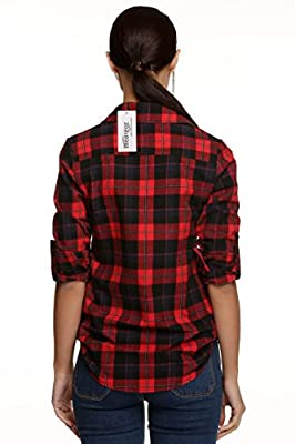 Meaneor Women Long Sleeve Plus Mid-Long Style Roll-Up Sleeve Plaid Flannel Shirt