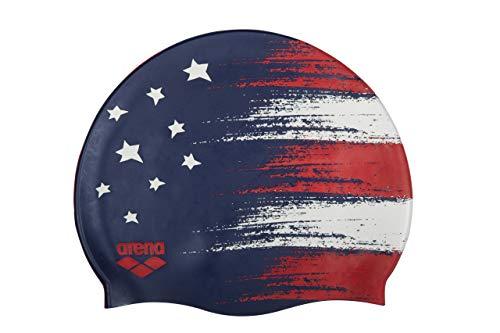 Arena Classic Silicone Unisex Swim Cap, USA Flag Navy