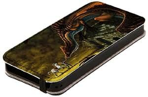 Diabloskinz L0081-0012-0002 - Funda de piel para Apple iPhone 5 y 5S, diseño de guerrero contra dragón
