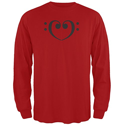 Bass Clef Heart Red Adult Long Sleeve T-Shirt - 2X-Large