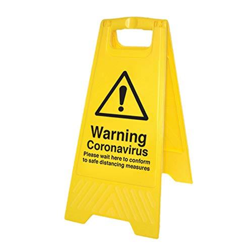 Avvertenza Coronavirus Si prega di attendere qui cartello autoportante
