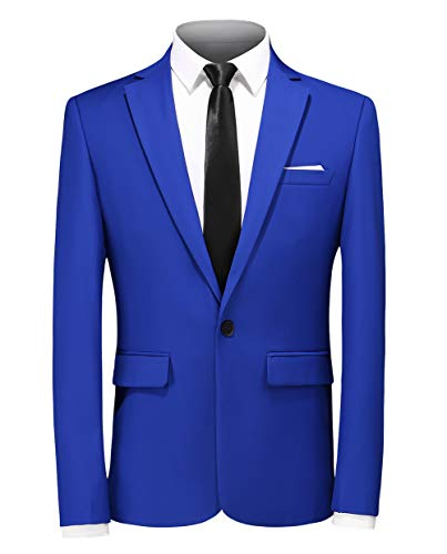 MOGU Mens Slim Fit Casual Royal Blue Blazer US Size 33 (Label Asian Size L) Royal Blue