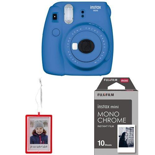 Fujifilm Instax Mini 9 Instant Camera -Cobalt Blue with Holiday Ornament and Mini Monochrome Film