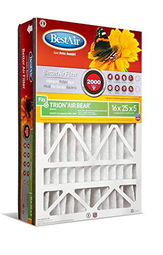 BestAir AB1625-11R Air Cleaning Furnace Filter, MERV 11, For Trion Air Bear, Supreme, Skuttle, GeneralAire, Source1 & Ultravation Models, 16″ x 25″ x 5″, 3 Pack