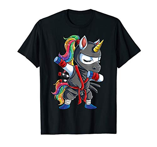 Dabbing Ninja Unicorn T shirt Girls Rainbow Martial Arts Tee -