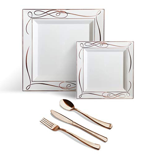 Helen's 125 pcs Rose Gold Square Plastic Disposable Plates Silverware Premium Dinnerware, BPA Free Heavyweight Wedding Party Set Include: 25 Dinner Plates 25 Dessert Plates 25 Forks 25 Spoons 25 Knive