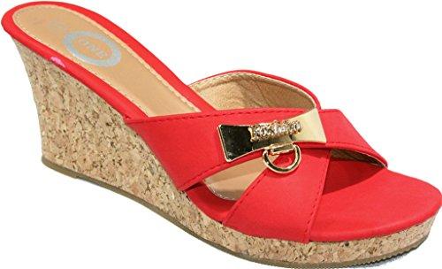 Un Sandalo Incuneato Da Donna Su Sandali Comfort Rosso