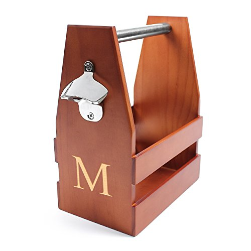 Cathy's Concepts Personalized Wooden Craft Beer Carrier with Bottle Opener, Letter M