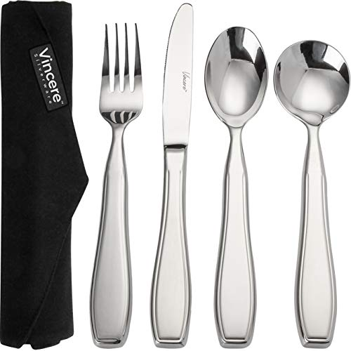 Weighted Utensils for Tremors and Parkinsons Aids Devices - Heavy Weight Stainless Steel Silverware Set, Adaptive Eating Flatware Helps Hand Tremors, Parkinson, Arthritis - Knife, Fork, 2 Spoons & Bag