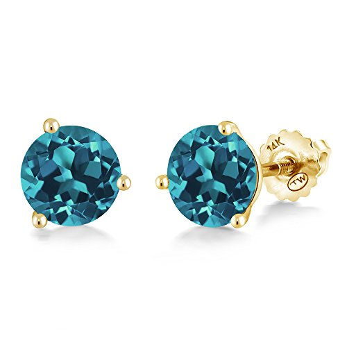 (Gem Stone King 1.50 Ct Round 6mm London Blue Topaz 14K Yellow Gold Martini Setting Stud Earrings )