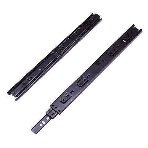 MroMax 14 Inch Length 35mm Width 2-Section Ball Bearing Drawer Keyboard Slide Rail Black