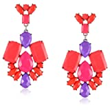 Opaque Rectangle Posted Pink Statement Earrings