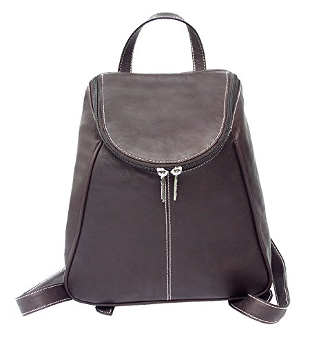 Flap Leather Piel Small (Piel Leather U-Zip Flap Backpack in Chocolate)