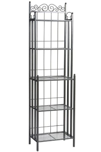 Iron Wrought Metal Cart - Southern Enterprises Celtic 5 Tier Storage Shelf - Wrought Iron - Bakers Rack w/Gunmetal Finish