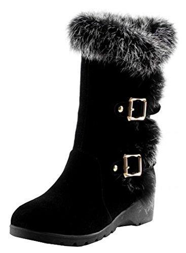 IDIFU Women's Sweet Buckled Fully Fur Mid Wedge Heels Faux Lined Mid Calf Snow Booties Black 4 B(M) US by IDIFU