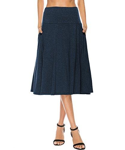 YiLiQi Women's High Waist Knitted Pleated Pocket Midi Skirt - Skirt Lightweight Womens