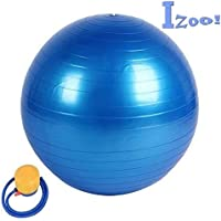 Izoo® Anti Burst Gym Ball with Free Air Pump | Fitness Exercise Stability Non-Slip, Extra-Thick Yoga Ball | Unique, Safe and Stylish Gymnastic ball | Overall Heavy Duty Body Muscles Strengthener Exerciser | Fitness Ball for Physical Therapy, Pilates, Yoga, Barre, Stability Ball, Shoulder and Core Training | A best Fitness Equipment for both Men and Women | A Perfect Gift for Fitness Lover.