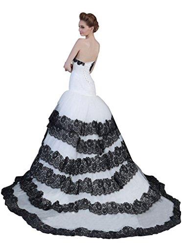 Kapelle Tailing Meerjungfrau Beauty Brautkleider Emily trägerlose Schatz Schwarz gefaltetes tw1xfEq