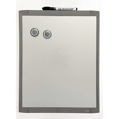 Quartet Stainless Steel Finish Magnetic Dry-Erase Board, 11 x 14 Inches, Graphite Gray Frame - Plastic Graphite Gray Frame