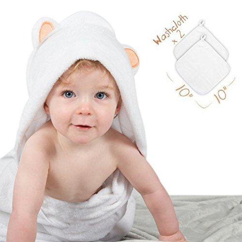 Large Bamboo Baby Hooded Towel & Washcloth Set Luxury Extra