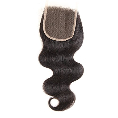 Glary Hair Brazilian Virgin Hair Body Wave Lace Closure Free Middle 4X4 8 Inches (8' Free Part)