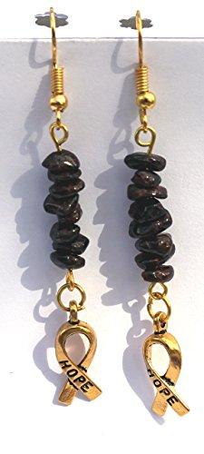 (Boho Style Garnet Chip Bead, Antique Gold Hope Ribbon Charm, Gold Tone Fish Hook)