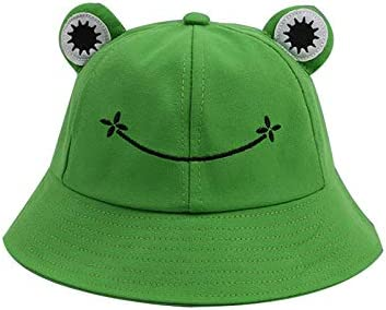 Summer Cotton Foldable Frog Bucket Sun Hat for Adults Children Wide Brim Fisherman Hat Cute Frog Bucket Hat