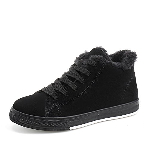 CYBLING Womens Winter Flat Shoes Casual Fashion Sneakers Comfort Soles Shoes Black HKqqp8hFU