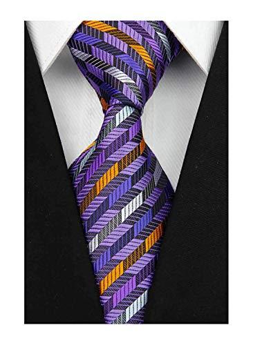 w3dayup mens Classic Plaid Tie Necktie Woven Jacquard Neck Purple Stripe Ties For Men BBR024
