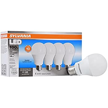 Sylvania Home Lighting 78103 Sylvania Non-Dimmable Led Light Bulb, 14 W, 120 V, 1500 Lumens, 5000 K, CRI 80, 2.375 in Dia X 4.29 in L Daylight 4 Piece