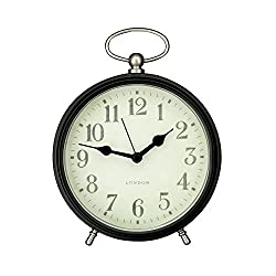 Adeco CK0086 Vintage-Inspired Round Modern Table Top or Wall Hanging Clock with Fob Detail Home Decor, Black