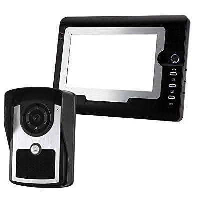 Fenteer Video Intercom Doorbell System, 7'' LCD Monitor Unlock Door Intercom Night Vision Remote Unlock Doorbell