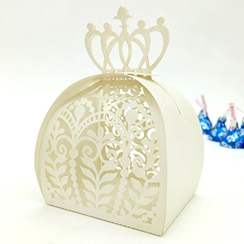 Cute Bridal Shower Favors (WOMHOPE 50 Pcs - European Style Crown Lock Hollow Laser Cut Wedding Candy Box Chocolate Candy Wrappers Holders Party Favors for Bridal Shower,Wedding,Party,Birthday (White))