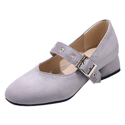TAOFFEN Women's Buckle Strap Court Shoes Gray KiG0fdiz