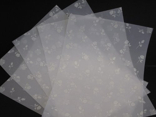 25 Sheets A4 100gsm Printed White Roses Vellum AM529 Jackdaw Express