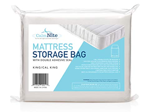 (Extra Thick Mattress Storage Bag with Adhesive Seal for Moving and Storing – Clear 4 MIL Plastic - Protects Bedding and Furniture from Moisture, Dirt, Bugs and Pests - 94 x 96 King, California King)