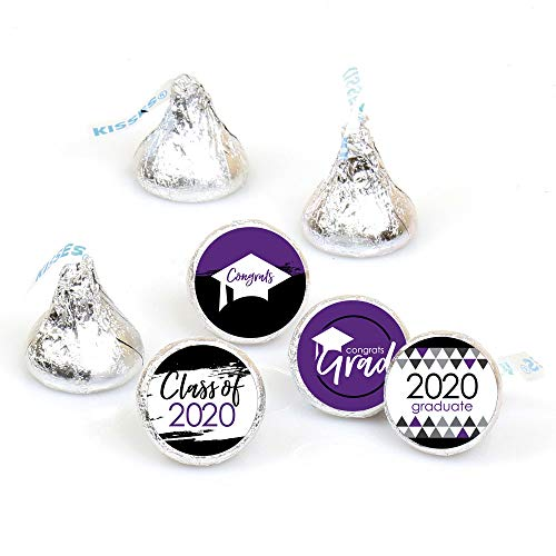 Big Dot of Happiness Purple Grad - Best is Yet to Come - Purple 2020 Graduation Party Round Candy Sticker Favors - Labels Fit Hersheys Kisses (1 Sheet of 108)