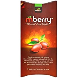 "Mberry miracle fruit tablets, 10-count 1 mberry miracle fruit tablet - the new indulgence is practically magic! Turn sour food sweet by inhibiting your taste receptors. Truly transform foods you never thought could be so sweet and delicious. Perfect for - explore the many ways to use mberry tablets. Host ""flavor-tripping"" dinner parties or get your kids to eat their vegetables. Make hot sauce taste like hot donut glaze, lemons taste like lemonade, and much more! On the go - these miracle berry flavor change pills come in a convenient on-the-go packaging that preserves its miraculin properties. Take with you wherever you go, suitable for all ages."