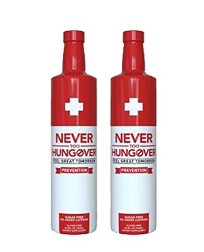 Never Too Hungover – 2-Pack 750ml Bottle – 15 Servings – Hangover Prevention Drink – Sugar Free – Low Calorie – Gluten Free – No Caffeine – Rich in Antioxidants & Electrolytes Review