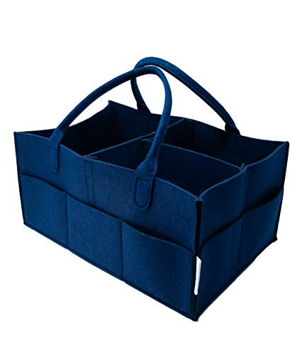 Diaper Caddy Organizer, Portable for Nursery and Car, Baby Essentials Bag (Navy)   by Vasquez Baby Co. by Vasquez Baby Co.