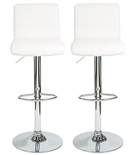 HULLR Modern Swivel Bar Stools Chairs Height Adjustable, Set of 2 (White) (Leather Sale Club Red Chair)