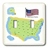 3dRose lsp_46642_2 Map and Flag of The Usa with All of The United States of America Identified with 2 Letter Postal Id Double Toggle Switch