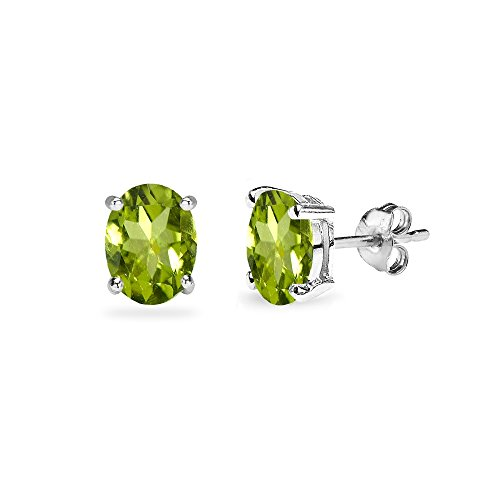 Yellow Gold Flashed Sterling Silver Peridot 5x3mm Oval-Cut Solitaire Stud Earrings - Oval Peridot Polished Earrings