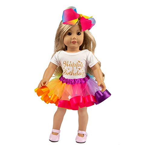 "ZITA ELEMENT American Doll Clothes and Accessories for 18 Inch Girl Doll Outfits | 1 Rainbow Tutu Skirt, 1 Shirt and 1 Bow Hair Clip for 16"" - 18"" Doll 