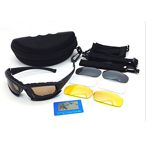 Tactical Polarized Sunglasses Military Tactical Goggles Airsoft Goggles Set, Detachable Sports Headband, 4 Groups Interchangeable Lenses, UV Blocking by Hjuns