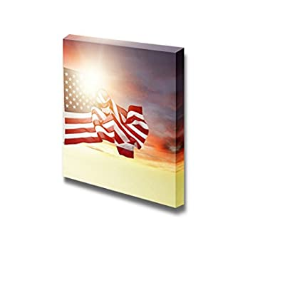 Canvas Prints Wall Art - American Flag Flying in Bright Sky | Modern Wall Decor/Home Art Stretched Gallery Wraps Giclee Print & Wood Framed. Ready to Hang - 24