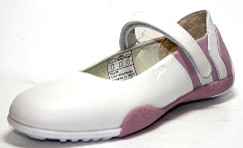 Jela 51.190.02–chaussures ballerines pour fille/femme-blanc/rose-taille 36