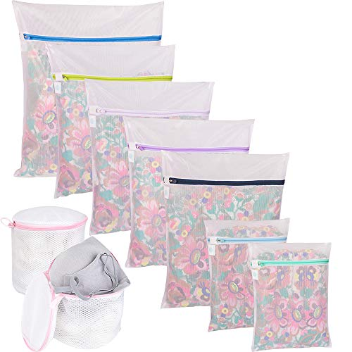 Wanapure 9Pcs Mesh Laundry Bag for Delicates, Lingerie Bags for Laundry - (1 Large & 4 Medium & 2 Small & 2 Bra Bags) for Garment, Underwear, Sock, Baby Clothes, ()