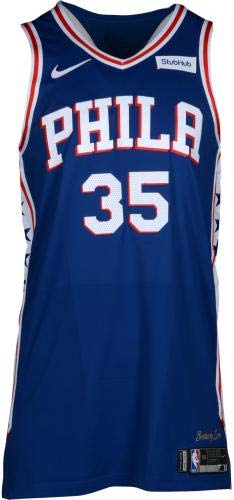 d8fa5e7cdf1 Trevor Booker Philadelphia 76ers Player-Issued  35 Blue Jersey from the 2017 -18 NBA Season - Size 50+4 - Fanatics Authentic Certified at Amazon s  Sports ...