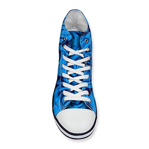 Pour U Conceptions Élégant Imprimé Floral Womens Lace-up Belle Haut Top Sneaker De Mode En Coton Bleu